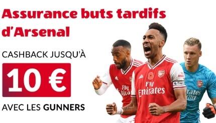 Vbet assurance buts tardifs d'Arsenal 10€
